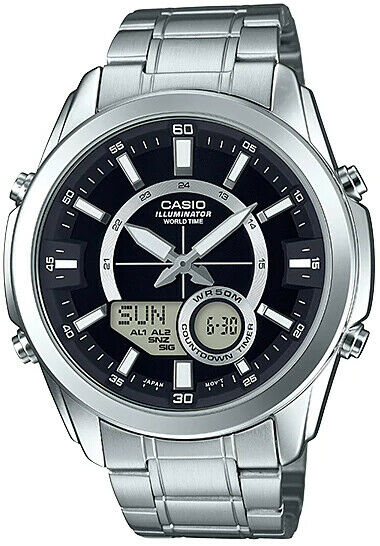 Casio AMW810D-1A Men's Stainless Steel, Analog Digital 50M WR Watch, World Time