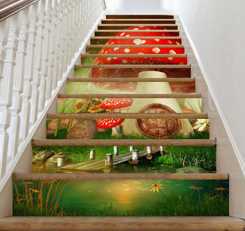 3D Fungo 612 Stair Risers Dekoration Fototapete Vinyl Aufkleber Tapete DE