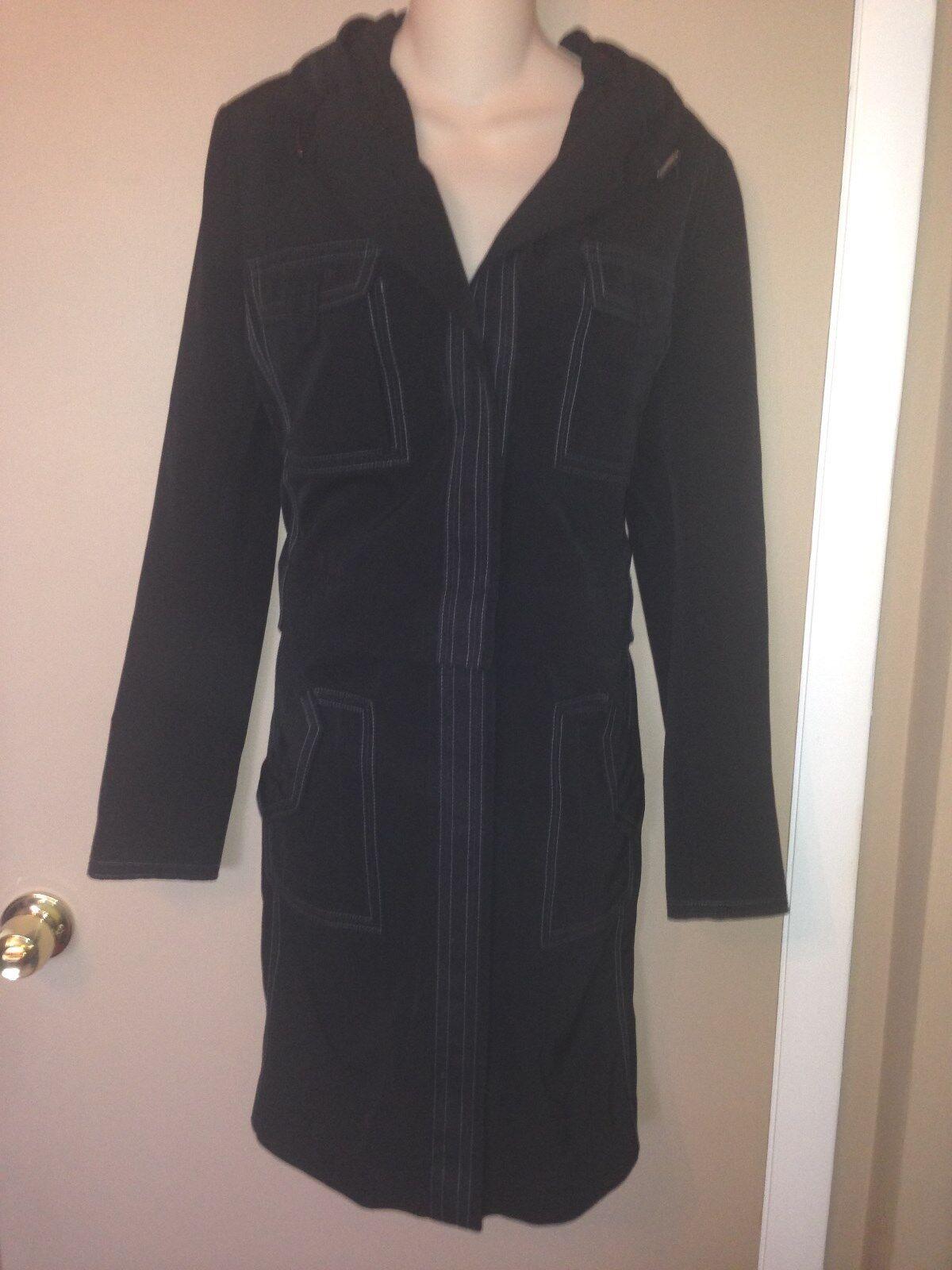 ELIE TAHARI  Converdeible Damas Abrigo Chaqueta Negra Con Capucha Talla M  autorización