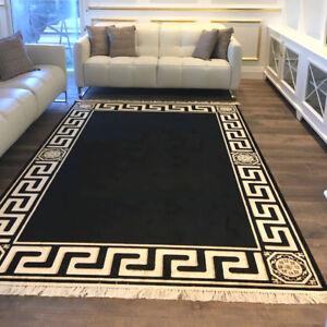 Exklusiver-Maeander-Medusa-Teppich-Schwarz-K-Seide-Meander-Carpet-Rug-versac