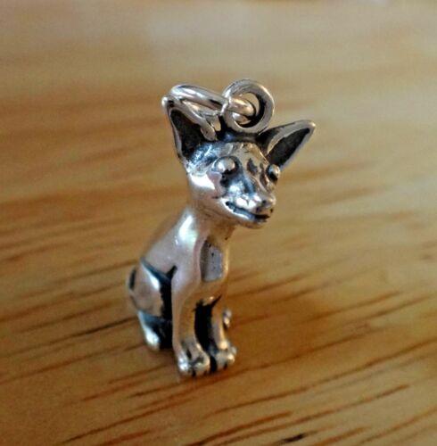 Sterling Silver 3D 19x10mm détaillée assis Chihuahua Chien Charme!