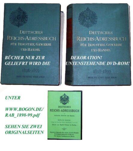 REICHS-ADRESSBUCH 1898-99 KPL Auf CD-ROM MIT VOLLTEXTSUCHE ERSTER JAHRGANG
