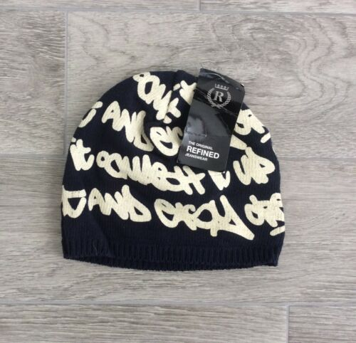 BEANIE HAT IN NAVY BLUE SIZE L MENS REFINED GRAFFITY DESIGN BEANY