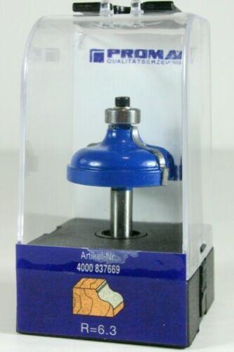 PROMAT Doppelradienfräser HM R=6,3 D.41,3 mm Kugellager 12,7 mm Schaft-D.8 mm