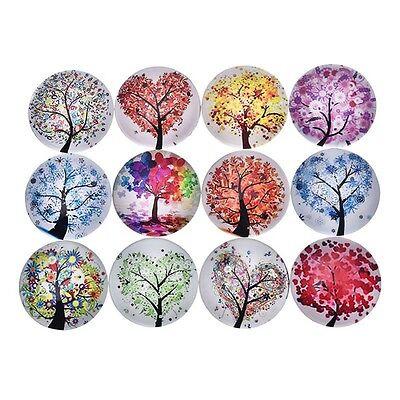 5 Pcs Cute Fridge Magic Magnet Tree of Life Glass Gem Sticker