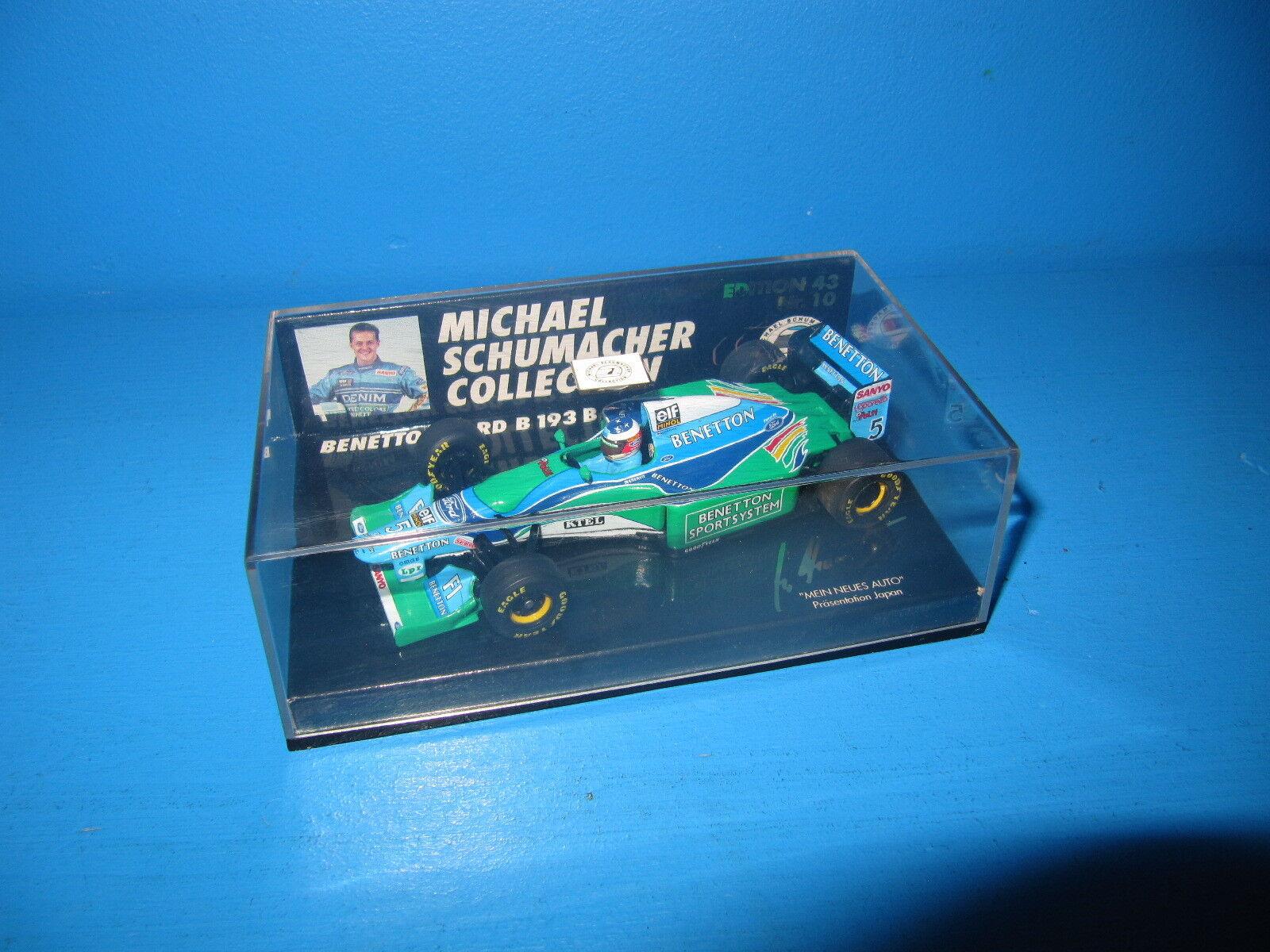 Pauls model type 1 43 Benetton f1 b193b M. Schumacher Japon 94 no10 Top à NEUF dans sa boîte