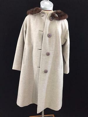 Vintage Stimell Fashion Coat La Riba by Wyandotte 100% wool fur collar gray