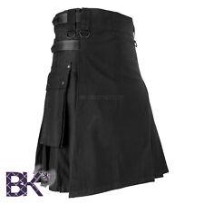 Men Black Leather Straps Fashion Sport Utility Kilt