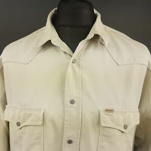Mustang-Mens-Vintage-DENIM-Shirt-XL-Long-Sleeve-Beige-Regular-Fit-Cotton