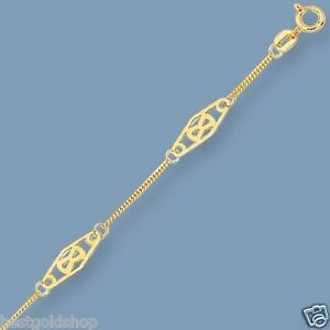 Diamond-Shape-Station-Miami-Cuban-Chain-Ankle-Bracelet-Anklet-14K-Yellow-Gold