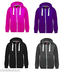 Navy Hot Pink New in Unisex Kids Girls Boys Plain Fleece Zip-up Hoodie Hoody Sweatshirt top Ages 1-13 Available in Black Purple Charcoal Royal Blue and Wine