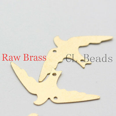 20pcs Raw Brass Filigree Pendants - Bird 26x13mm (264C-U-78)