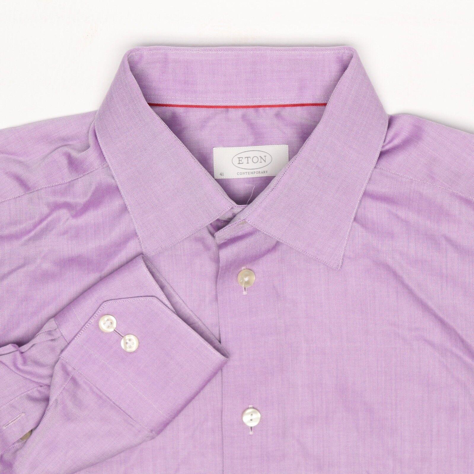 Eton Herren Hemd 16 36 Zeitgenössisch Massiv Lavendel Fischgräten-webart Gewoben