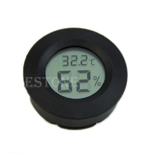 Digital-Cigar-Humidor-Hygrometer-Thermometer-Round-Black-Face-NEW
