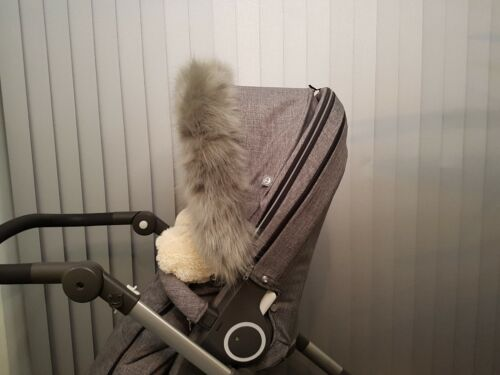 Stokke Winter Kit Fur Hood Trim Fur Silver Black Melange New Furs