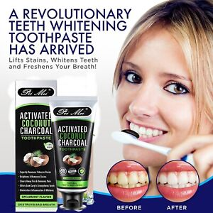 3 X Activated Charcoal Coconut Oil Puling Toothpaste Vegan Teeth