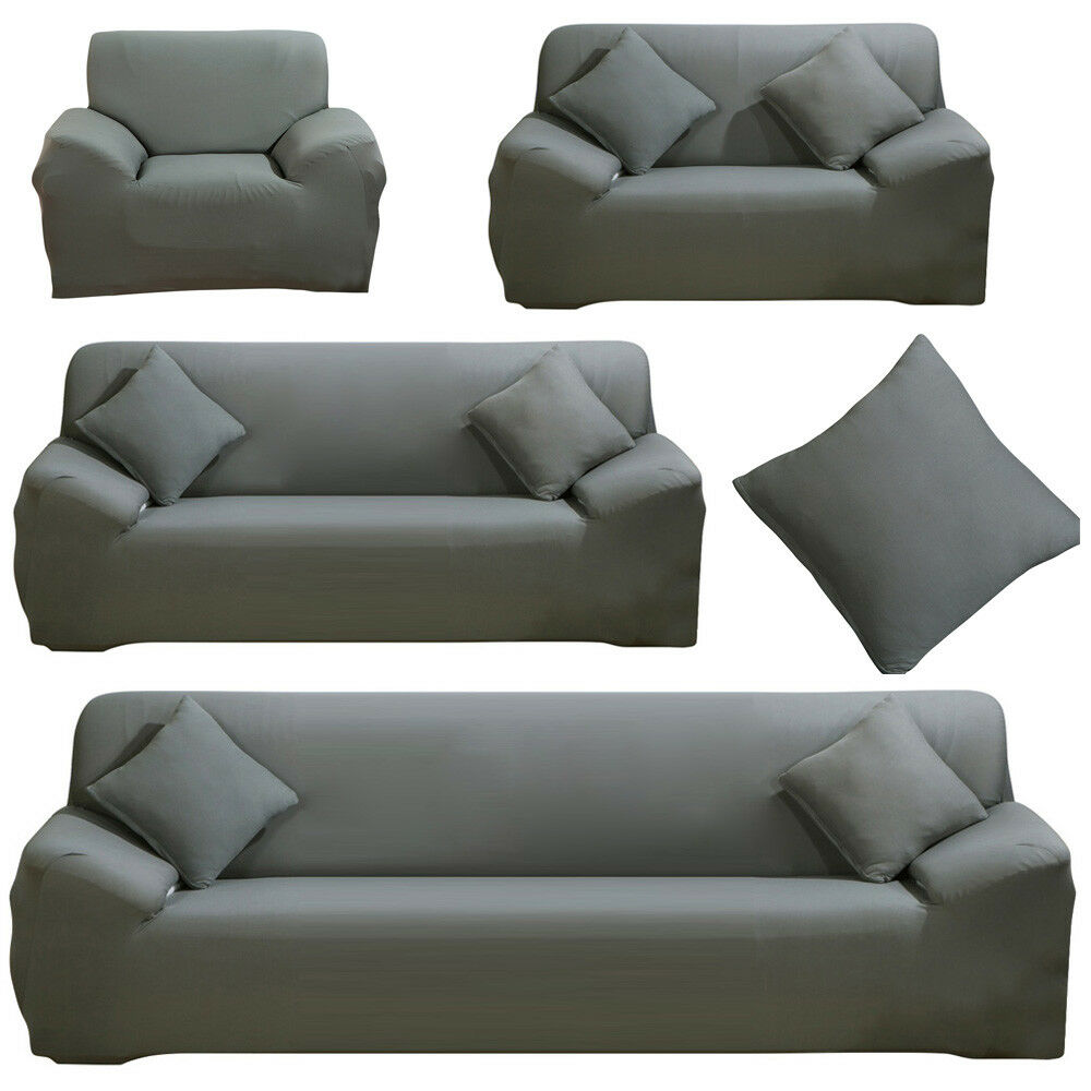 Terrific Details About Stretch Sofa Covers Protector Slipcover For 1 2 3 4 Seater L Shaped Dark Gray Theyellowbook Wood Chair Design Ideas Theyellowbookinfo