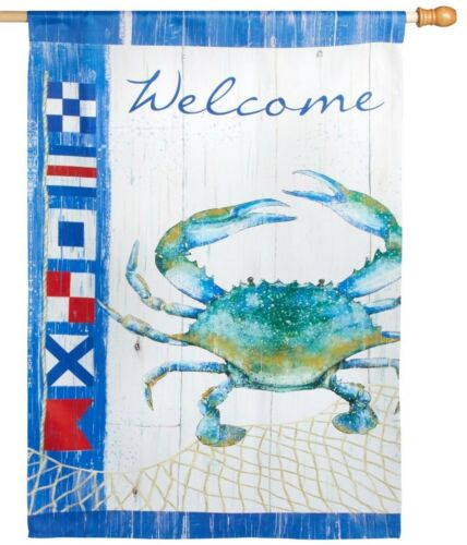 "Large Ocean Beach CRAB Nautical Garden Yard Flag 40/""L x 28/"" W"