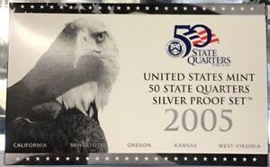2005-U-S-Mint-SILVER-50-State-Quarter-Proof-Set-In-original-GRAY-box