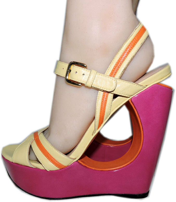 Stuart Weitzman Cut Out Pink Wedge Sandals color Block Slingback shoes 7.5