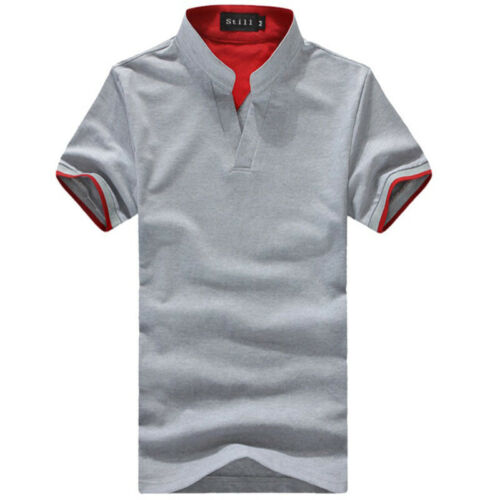 Men/'s V Neck Stand Collar Tops Slim Fit Casual T-shirts Shirt Short Sleeve Tee