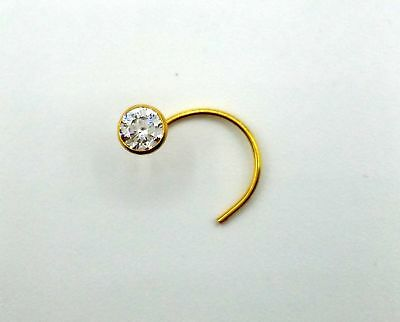 3 Mm 14k Authentic Gold Nose Pin Stud Ring 1 Stone Cubic Zircon