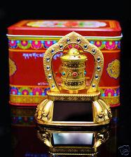Tibetan Om MANI alloy Prayer Wheel Solar Battery Mount on Desk or Car Feng Shui