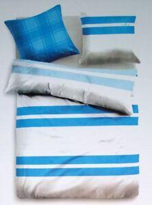 Kaeppel Mako-Satin Bettwäsche Set 2 teilig 135 x 200 cm Grau//Blau gestreift