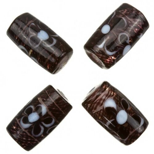 A79//2 Fused Flower Transparent Dark Brown Tube Glass Beads 20x10mm Pack of 4