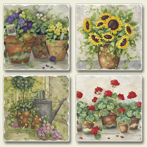 Mixed Absorbent Stone Coasters Set of 4 Garden Flowers Pansy Geranium Sunflowers