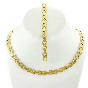 NEW-Womens-14K-Gold-Tone-Hugs-and-Kisses-Stampato-Necklace-Bracelet-set-XOXO-18-034