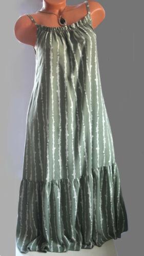 ITALY Sommer Kleid,Tunika,Trägerkleid,Oversize,Streifen,Print,Gr.42,44,46,NEU