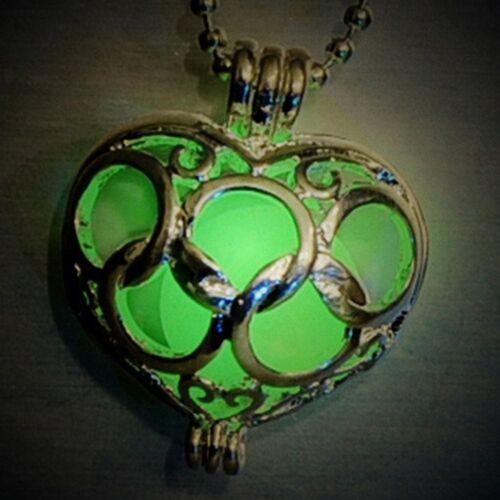 Fairy Magic Heart Glowing Jewelry Locket Glow In The Dark Pendant Necklace