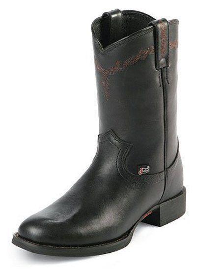 Justin Womens L4606 Black Calfy Western Dress Boots 9.5B New In Box