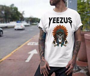 Kanye-West-Yeezus-T-shirt-INDIANA-TESCHIO-di-stampa-unisex-Shirt-manica-corta-Music-Tee