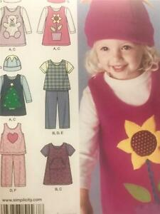 Simplicity-Sewing-Pattern-1567-Girls-Toddler-Dress-Pants-Top-Size-1-2-4-Uncut
