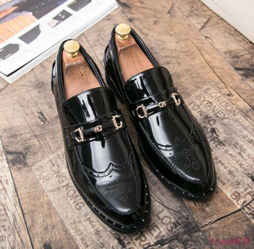 Brogues Men Flats Shoes Pointy Toe Wing Tip Slip On Casual Loafer Metal Decor