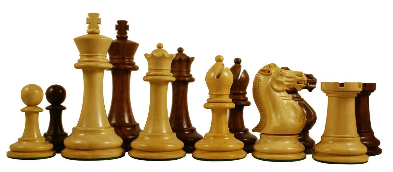 Paul Morphy Series Premium Staunton 3.5  Chess Pieces in golden pink & Box Wood