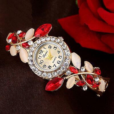 Fashion Luxury Crystal Women Flower Bracelet Faux Opal Bangle Quartz Wrist Watch