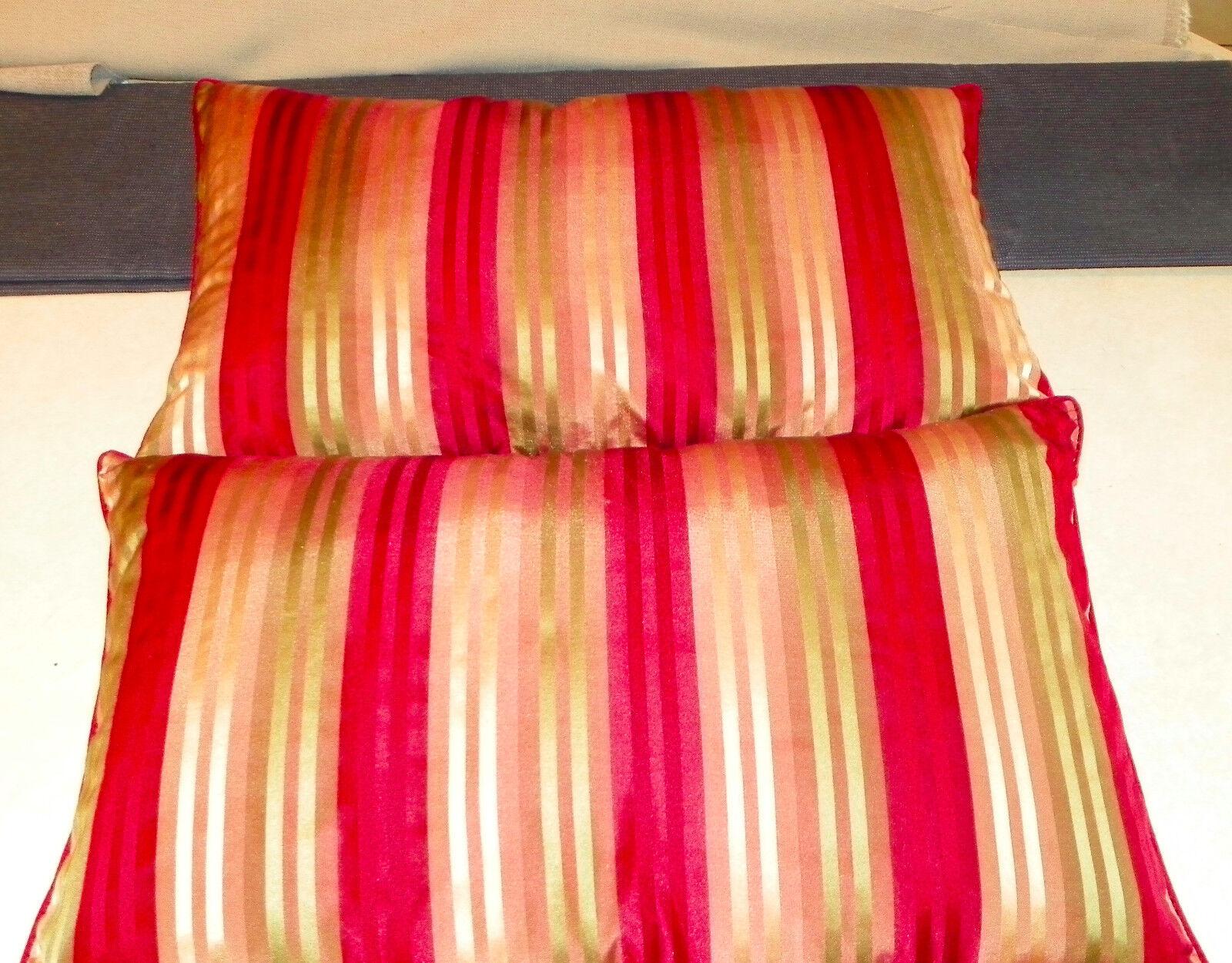 Pair of rouge vert or Satin Stripe Print Bolster   Lumbar Pillows  23  x 14