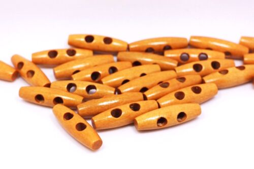 Oval Shaped Brown Wooden Toggle Buttons 40mm 50pcs