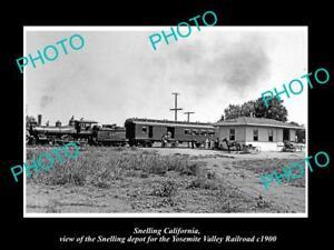 OLD-HISTORIC-PHOTO-OF-SNELLING-CALIFORNIA-THE-YOSEMITE-RAILROAD-DEPOT-c1900