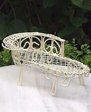 Miniature Dollhouse FAIRY GARDEN Furniture ~ Cream Wire Chaise Lounge Bench NEW