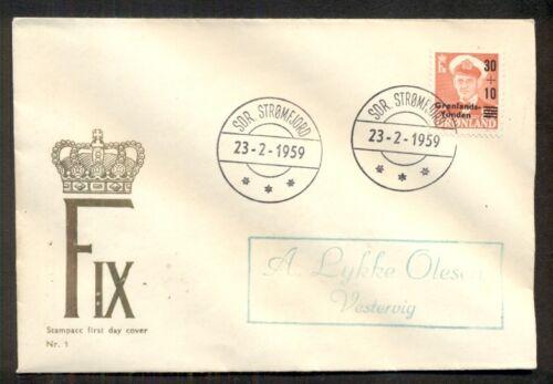GREENLAND 1959, B2 Semi-postal Ovpt showing