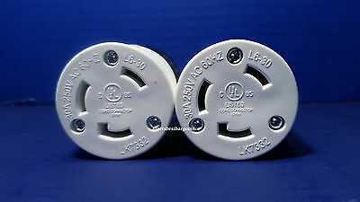 Replacement 30 Amp 250 Volt Female Twist Lock Power Cord Plug Nema L6-30R 2 Pack