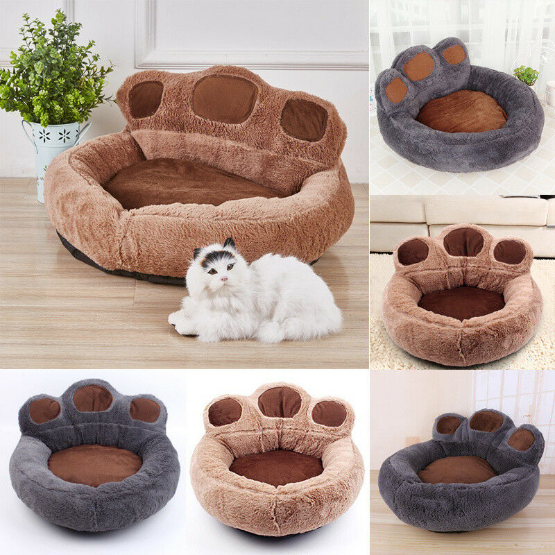 Cute Bear Paw Pet Puppy Soft Plush Beds Nest Basket Shape Kennel Cat Dog Bed NEW