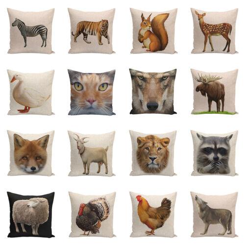 Animals Linen Printed Pillow Case Cushion Cover Sofa Bed Car Home Decor Surprise