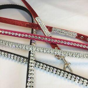 Bling Crystal Rhinestone Pet Dog Cat Leash Lead USA Red Pink Silver Black Etc.