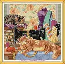 Kit broderie point de croix compté,Cross Stitch kit The cat and sewing machine 2
