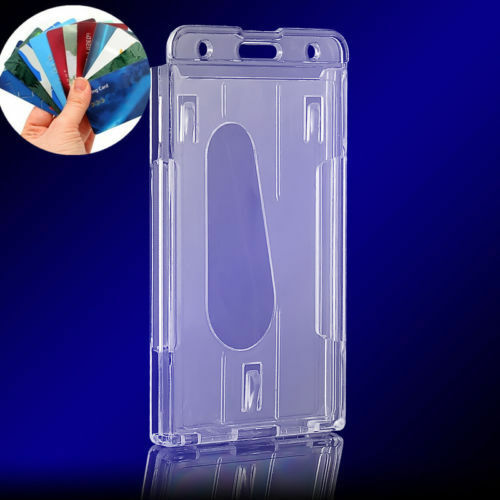 One Clear Vertical Hard Plastic Badge Holder Double Card ID Transparent 10x6cm F